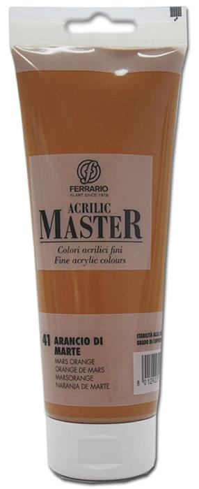 Ferrario Краска акриловая Acrilic Master цвет №41 оранжевый марс 250 мл BM0978B0041BM0978B0041Акриловые краски серии ACRILIC MASTER итальянской компании Ferrario. Универсальны в применении, так как хорошо ложатся на любую обезжиренную поверхность: бумага, холст, картон, дерево, керамика, пластик. При изготовлении красок используются высококачественные пигменты мелкого помола. Краска быстро сохнет, обладает отличной укрывистостью и насыщенностью цвета. Работы, сделанные с помощью ACRILIC MASTER, не тускнеют и не выгорают на солнце. Все цвета отлично смешиваются между собой и при необходимости разбавляются водой. Для достижения необходимых эффектов применяют различные медиумы для акриловой живописи. В серии представлено 50 цветов.