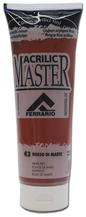 Ferrario Краска акриловая Acrilic Master цвет №43 красный марс BM0978B0043BM0978B0043Акриловые краски серии ACRILIC MASTER итальянской компании Ferrario. Универсальны в применении, так как хорошо ложатся на любую обезжиренную поверхность: бумага, холст, картон, дерево, керамика, пластик. При изготовлении красок используются высококачественные пигменты мелкого помола. Краска быстро сохнет, обладает отличной укрывистостью и насыщенностью цвета. Работы, сделанные с помощью ACRILIC MASTER, не тускнеют и не выгорают на солнце. Все цвета отлично смешиваются между собой и при необходимости разбавляются водой. Для достижения необходимых эффектов применяют различные медиумы для акриловой живописи. В серии представлено 50 цветов.