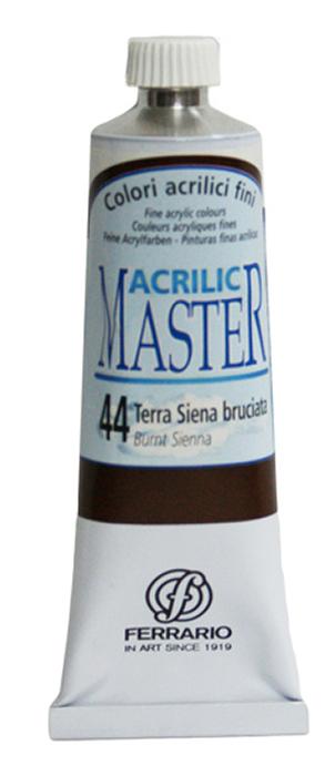 Ferrario Краска акриловая Acrilic Master цвет №44 сиена жженая BM09760CO44BM09760CO44Акриловые краски серии ACRILIC MASTER итальянской компании Ferrario. Универсальны в применении, так как хорошо ложатся на любую обезжиренную поверхность: бумага, холст, картон, дерево, керамика, пластик. При изготовлении красок используются высококачественные пигменты мелкого помола. Краска быстро сохнет, обладает отличной укрывистостью и насыщенностью цвета. Работы, сделанные с помощью ACRILIC MASTER, не тускнеют и не выгорают на солнце. Все цвета отлично смешиваются между собой и при необходимости разбавляются водой. Для достижения необходимых эффектов применяют различные медиумы для акриловой живописи. В серии представлено 50 цветов.
