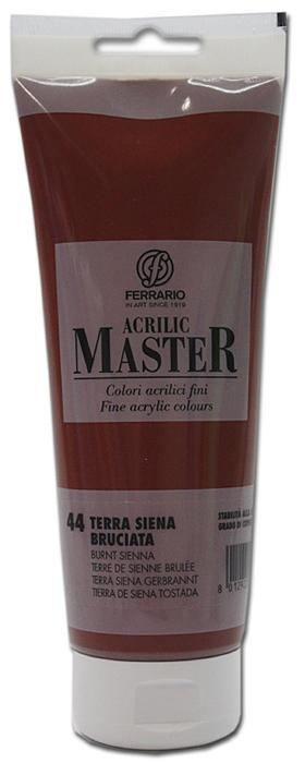 Ferrario Краска акриловая Acrilic Master цвет №44 сиена жженая BM0978B0044BM0978B0044Акриловые краски серии ACRILIC MASTER итальянской компании Ferrario. Универсальны в применении, так как хорошо ложатся на любую обезжиренную поверхность: бумага, холст, картон, дерево, керамика, пластик. При изготовлении красок используются высококачественные пигменты мелкого помола. Краска быстро сохнет, обладает отличной укрывистостью и насыщенностью цвета. Работы, сделанные с помощью ACRILIC MASTER, не тускнеют и не выгорают на солнце. Все цвета отлично смешиваются между собой и при необходимости разбавляются водой. Для достижения необходимых эффектов применяют различные медиумы для акриловой живописи. В серии представлено 50 цветов.
