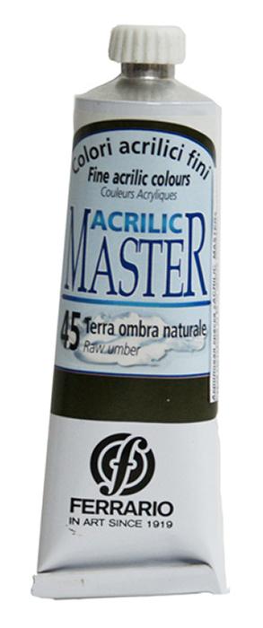 Ferrario Краска акриловая Acrilic Master цвет №45 умбра натуральная 60 мл BM09760CO45BM09760CO45Акриловые краски серии ACRILIC MASTER итальянской компании Ferrario. Универсальны в применении, так как хорошо ложатся на любую обезжиренную поверхность: бумага, холст, картон, дерево, керамика, пластик. При изготовлении красок используются высококачественные пигменты мелкого помола. Краска быстро сохнет, обладает отличной укрывистостью и насыщенностью цвета. Работы, сделанные с помощью ACRILIC MASTER, не тускнеют и не выгорают на солнце. Все цвета отлично смешиваются между собой и при необходимости разбавляются водой. Для достижения необходимых эффектов применяют различные медиумы для акриловой живописи. В серии представлено 50 цветов.