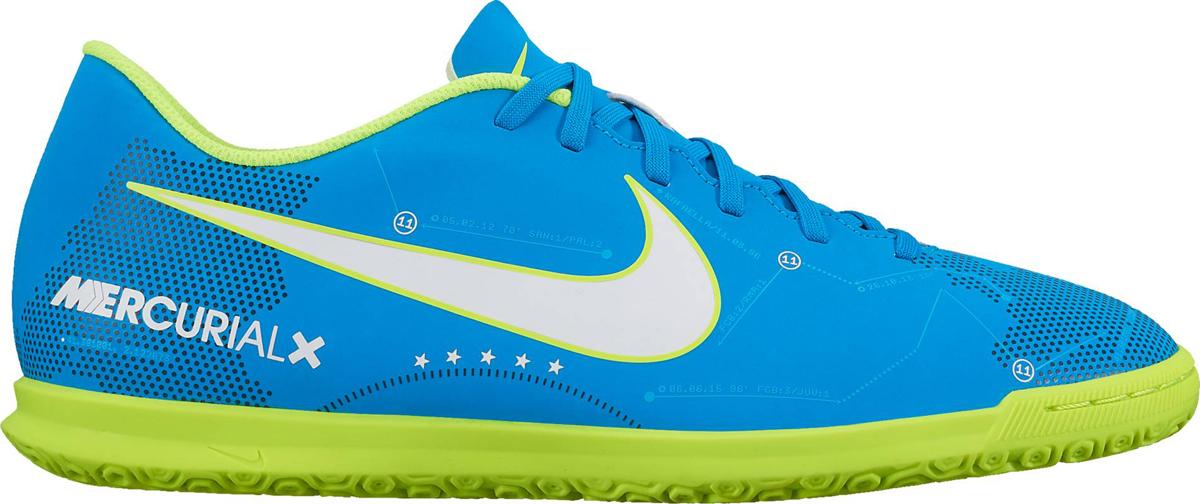 Бутсы для футзала мужские Nike Mercurialx Vortex Iii Njr Ic, цвет: голубой, зеленый. 921518-400. Размер 7,5 (40)921518-400Футбольная коллекция всемирноизвестного спортивного бренда