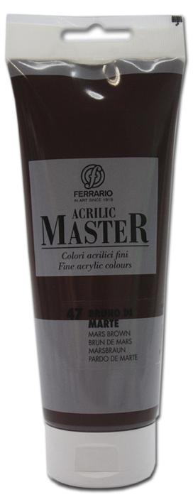 Ferrario Краска акриловая Acrilic Master цвет №47 коричневый марBM0978B0047Акриловые краски серии ACRILIC MASTER итальянской компании Ferrario. Универсальны в применении, так как хорошо ложатся на любую обезжиренную поверхность: бумага, холст, картон, дерево, керамика, пластик. При изготовлении красок используются высококачественные пигменты мелкого помола. Краска быстро сохнет, обладает отличной укрывистостью и насыщенностью цвета. Работы, сделанные с помощью ACRILIC MASTER, не тускнеют и не выгорают на солнце. Все цвета отлично смешиваются между собой и при необходимости разбавляются водой. Для достижения необходимых эффектов применяют различные медиумы для акриловой живописи. В серии представлено 50 цветов.