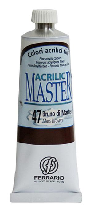 Ferrario Краска акриловая Acrilic Master цвет №47 марс коричневыйBM09760CO47Акриловые краски серии ACRILIC MASTER итальянской компании Ferrario. Универсальны в применении, так как хорошо ложатся на любую обезжиренную поверхность: бумага, холст, картон, дерево, керамика, пластик. При изготовлении красок используются высококачественные пигменты мелкого помола. Краска быстро сохнет, обладает отличной укрывистостью и насыщенностью цвета. Работы, сделанные с помощью ACRILIC MASTER, не тускнеют и не выгорают на солнце. Все цвета отлично смешиваются между собой и при необходимости разбавляются водой. Для достижения необходимых эффектов применяют различные медиумы для акриловой живописи. В серии представлено 50 цветов.