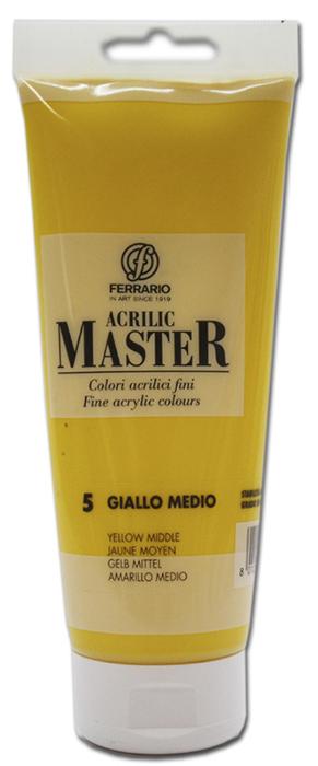 Ferrario Краска акриловая Acrilic Master цвет №5 желтый среднийBM0978B0005Акриловые краски серии ACRILIC MASTER итальянской компании Ferrario. Универсальны в применении, так как хорошо ложатся на любую обезжиренную поверхность: бумага, холст, картон, дерево, керамика, пластик. При изготовлении красок используются высококачественные пигменты мелкого помола. Краска быстро сохнет, обладает отличной укрывистостью и насыщенностью цвета. Работы, сделанные с помощью ACRILIC MASTER, не тускнеют и не выгорают на солнце. Все цвета отлично смешиваются между собой и при необходимости разбавляются водой. Для достижения необходимых эффектов применяют различные медиумы для акриловой живописи. В серии представлено 50 цветов.