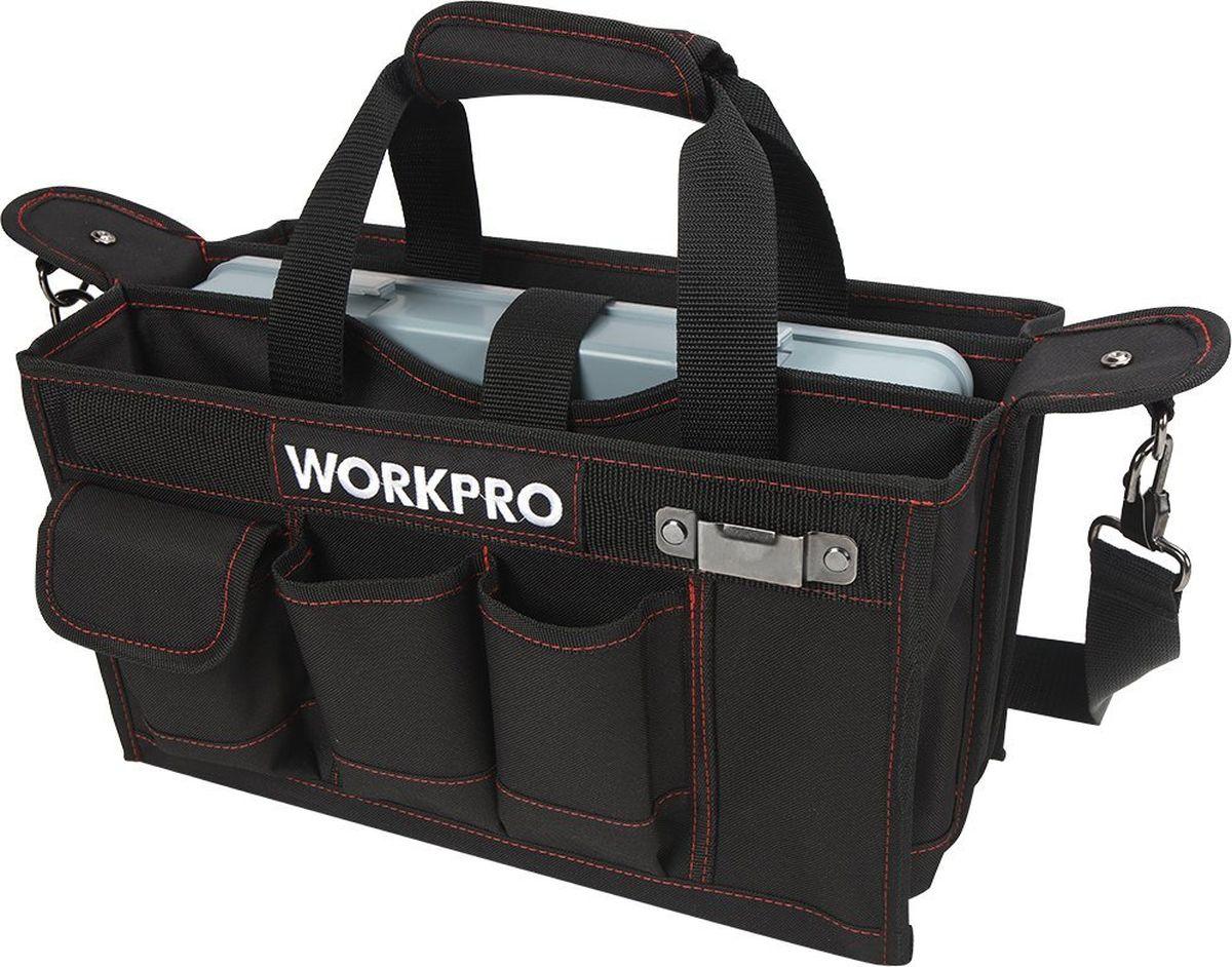 Сумка для инструмента Workpro, с ящиком, 21 карманW081070Вместительная и функциональная сумка для инструмента Workpro с наружными карманами, плечевым ремнем, креплением для рулетки, внутренними секциями и пластиковым контейнером для хранения фурнитуры. Поможет организовать удобное хранение инструментов и принадлежностей.