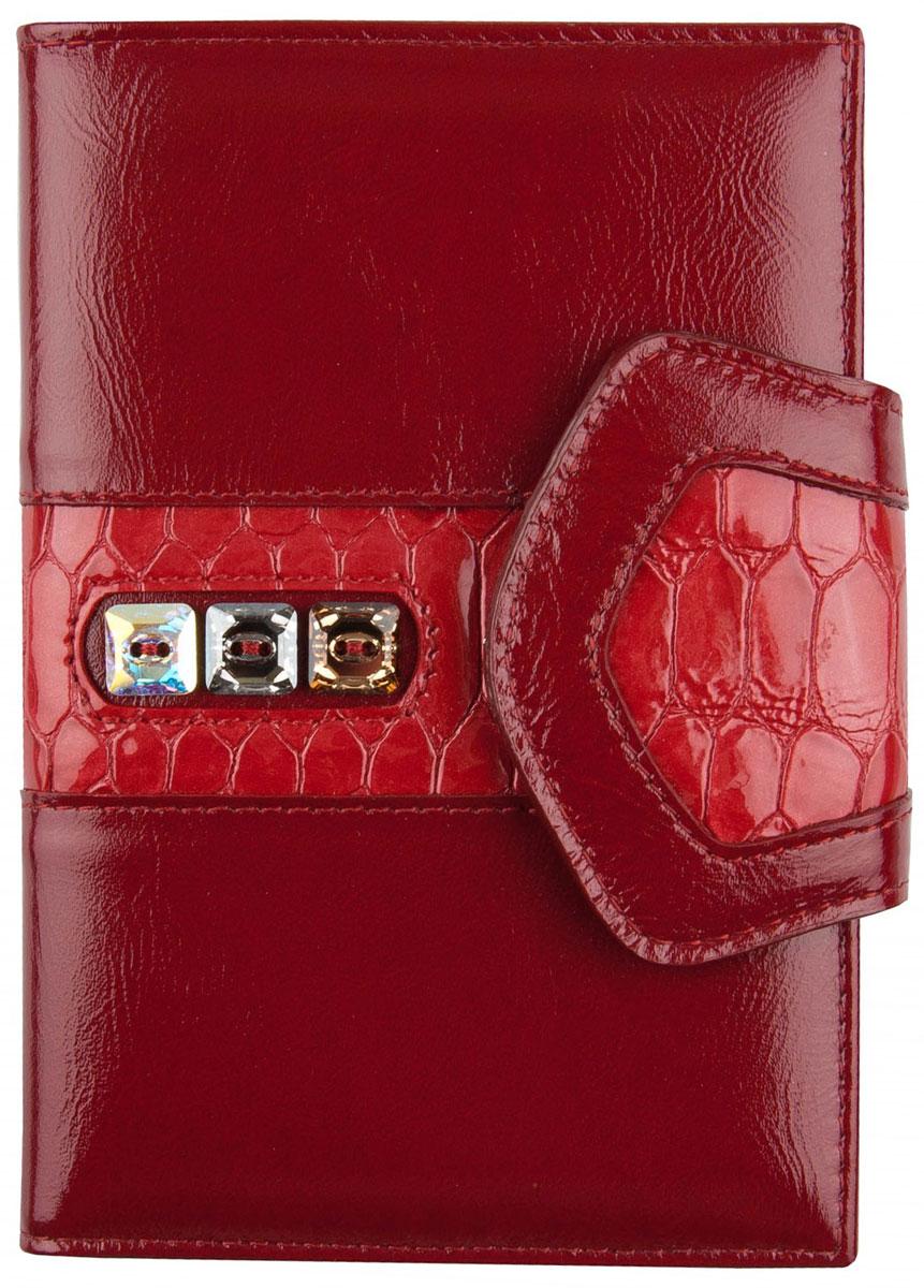 Обложка для автодокументов женская Krystall, цвет: красный. 0-481(СВ)Натуральная кожаОбложка для автодокументов Krystall декорирована оригинальными кристаллами Swarovski. Внутри изделия имеется съемный пластиковый вкладыш для авто-документов. С одной стороны 4 кожаных кармана для кредитных карт, а с другой - один дополнительный карман. Само изделие закрывается клапаном на кнопку.