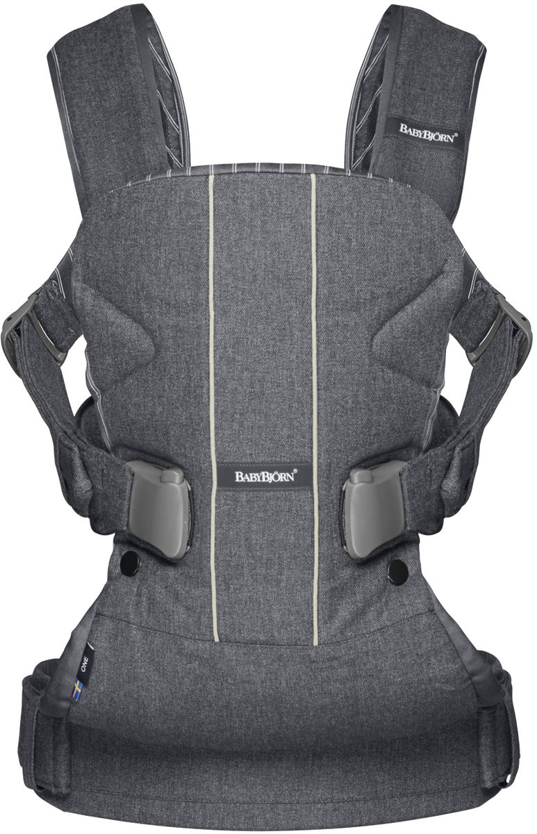 BabyBjorn Рюкзак для переноски ребенка One Soft Cotton Mix цвет белый серый - Рюкзаки, слинги, кенгуру