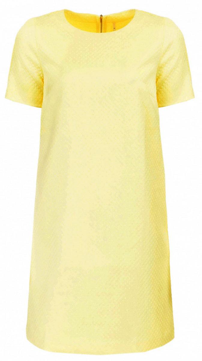 Платье Baon, цвет: желтый. B457040_Cold Butter Jacquard. Размер L (48)B457040_Cold Butter JacquardПлатье Baon выполнено из комбинированного материала. Модель с круглым вырезом горловины и короткими рукавами сзади застегивается на застежку-молнию.