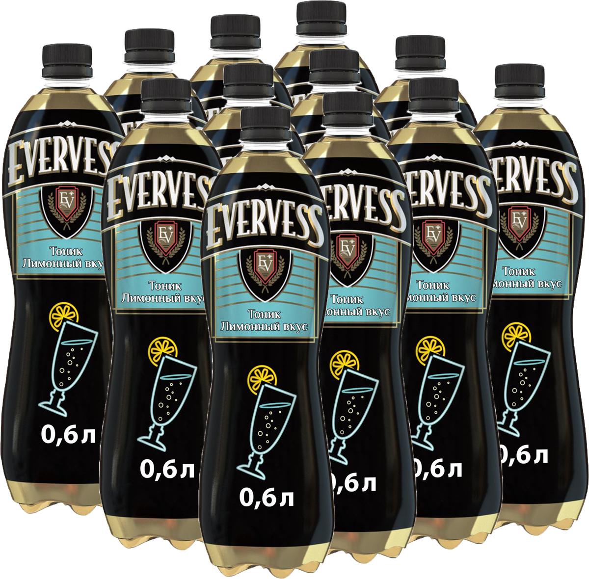 Evervess Тоник напиток сильногазированный, 12 штук по 0,6 л340006970_блокиИзвестные на весь мир тоники. Идеально подходят для приготовления коктейлей.О бренде:Известный на весь мир бренд тоников Evervess. Тоники обладают освежающим вкусом с характерной горчинкой, идеально подходящим для приготовления коктейлей.