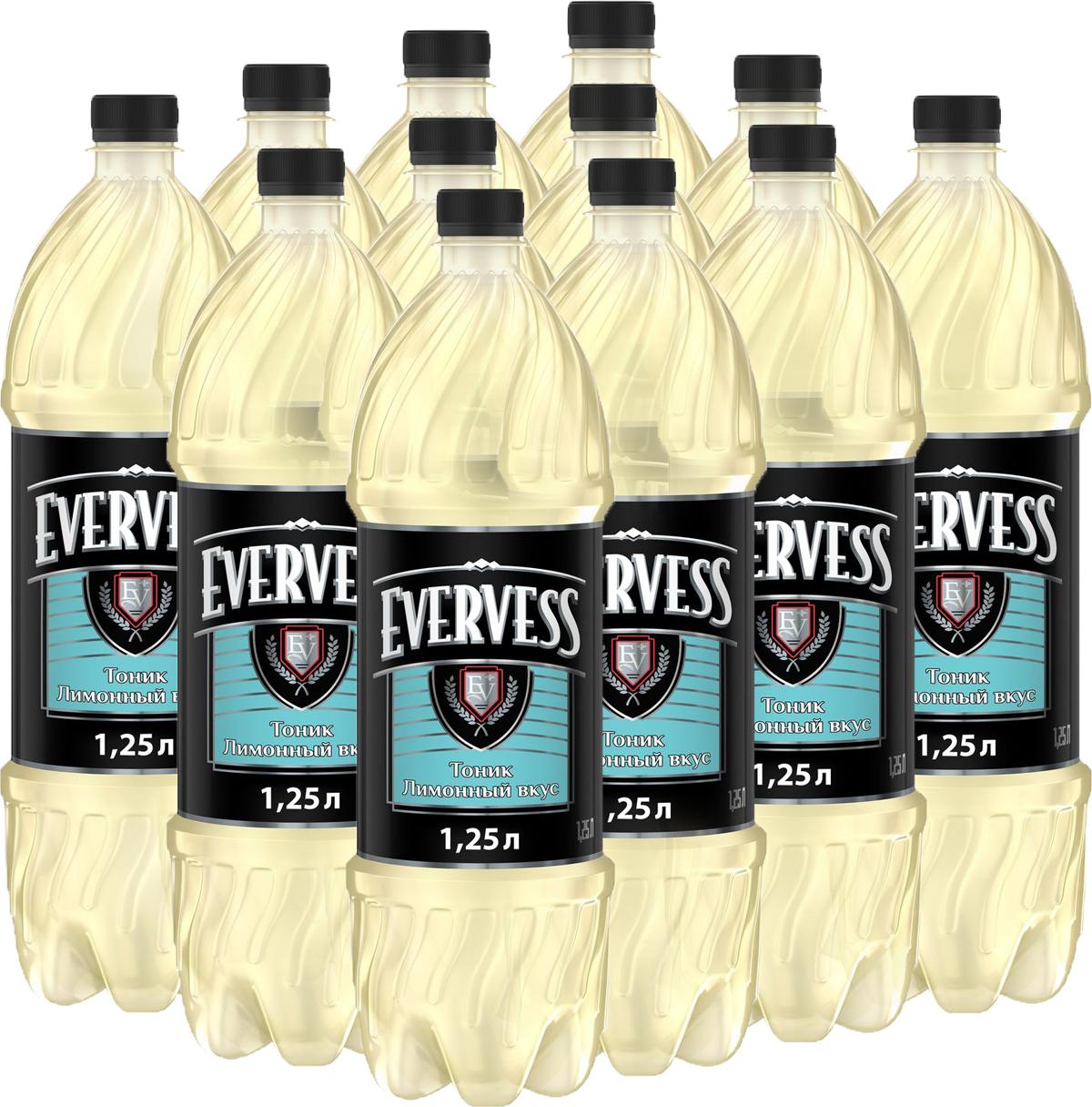 Evervess Лимон напиток сильногазированный, 12 штук по 1,25 л340023938_блокиИзвестные на весь мир тоники. Идеально подходят для приготовления коктейлей.О бренде:Известный на весь мир бренд тоников Evervess. Тоники обладают освежающим вкусом с характерной горчинкой, идеально подходящим для приготовления коктейлей.