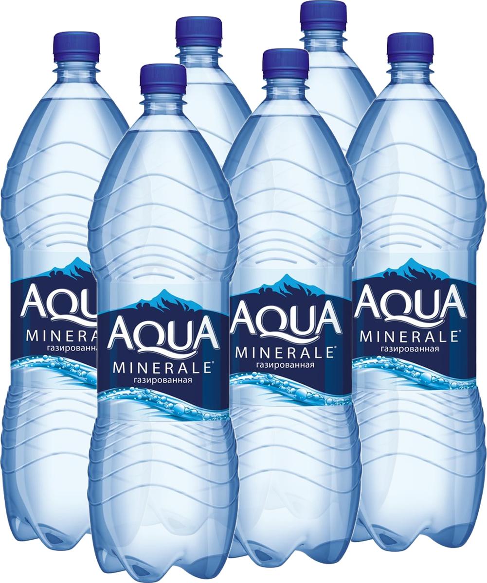 Aqua Minerale вода газированная питьевая, 6 штук по 2 л aqua minerale вода питьевая негазированная 1 5 л