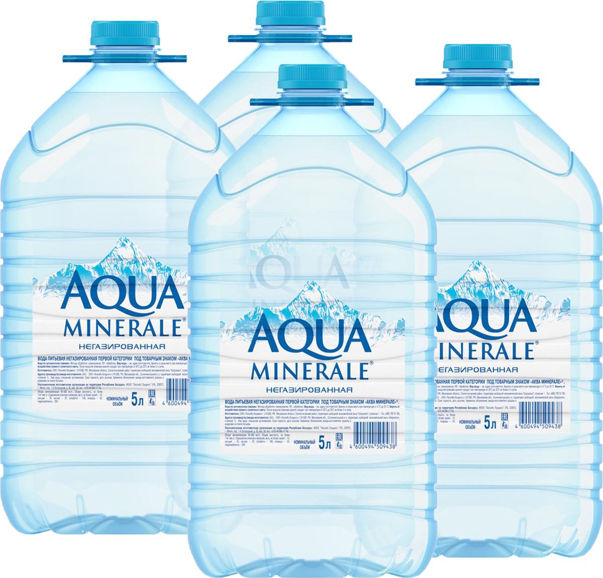 Aqua Minerale вода питьевая негазированная, 4 штук по 5 л aqua minerale с соком лимон напиток негазированный 0 6 л