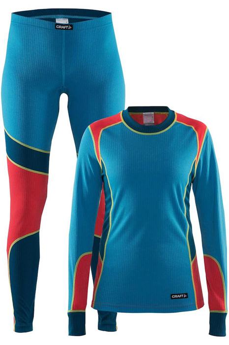 Комплект термобелья женский: брюки и кофта Craft Baselayer, цвет: синий, красный. 1905331/315452. Размер XS (42)1905331/315452