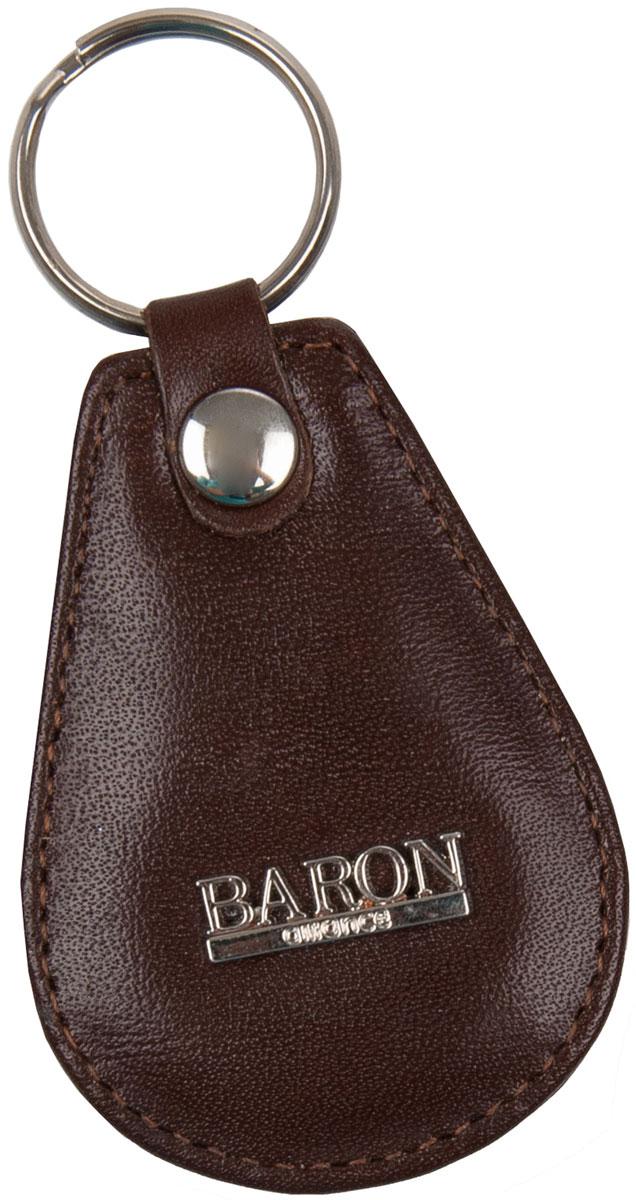 Брелок мужской Baron, цвет: коричневый. 0-75В0-75В н корБрелок для ключей Baron выполнен из натуральной кожи. Изделие оформлено металлической пластиной с логотипом бренда и оснащено металлическим кольцом.Такой брелок станет стильным дополнением к ключам.
