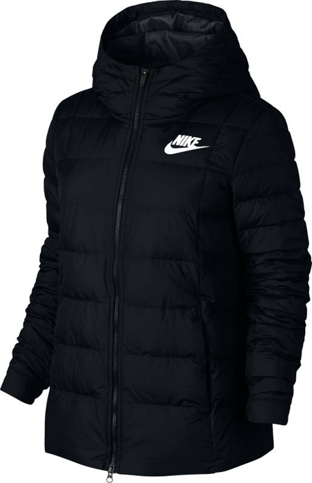 Куртка женская Nike W NSW Dwn Fill Jkt HD, цвет: черный. 854862-010. Размер S (42/44)854862-010Womens Nike Sportswear Jacket ОБТЕКАЕМЫЙ КРОЙ И ТЕПЛО. Женская куртка Nike Sportswear — более женственная версия классической модели с пуховым наполнителем, капюшоном из нескольких панелей и эластичной вставкой на спине. Она обеспечивает тепло и выгодно подчеркивает фигуру. Пуховый наполнитель обеспечивает тепло и комфорт.