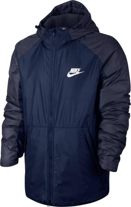 Куртка мужская Nike M NSW Syn Fill Jkt HD FLC LN, цвет: синий, темно-синий. 861788-429. Размер L (50/52)861788-429Mens Nike Sportswear Jacket ЗАЩИТА ОТ ДОЖДЯ. ЗАЩИТА ОТ ХОЛОДА. Мужская куртка Nike Sportswear обеспечивает комфорт в переменчивую погоду. Влагонепроницаемая ткань, отсеки с утеплителем, регулируемый капюшон и мягкая флисовая подкладка обеспечивают защиту от холода. Ткань рипстоп защищает от влаги.