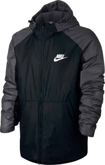 Куртка мужская Nike M NSW Syn Fill Jkt HD FLC LN, цвет: черный, серый. 861788-010. Размер S (44/46)861788-010Mens Nike Sportswear Jacket ЗАЩИТА ОТ ДОЖДЯ. ЗАЩИТА ОТ ХОЛОДА. Мужская куртка Nike Sportswear обеспечивает комфорт в переменчивую погоду. Влагонепроницаемая ткань, отсеки с утеплителем, регулируемый капюшон и мягкая флисовая подкладка обеспечивают защиту от холода. Ткань рипстоп защищает от влаги.