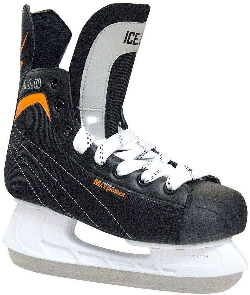 Коньки хоккейные Ice.Com A 1.0 2014, цвет: черный, оранжевый. Размер 42A1.0 - 42Коньки A 1.0 предназначены для игры в хоккей. Верх ботинка выполнен из морозостойкой искусственной кожи и нейлона. Мысок - морозостойкий ударопрочный PU, подошва - морозостойкий ПВХ. Толстый войлочный язык. Удобный высокий ботинок с широкой анатомической колодкой позволяет надежно фиксировать голеностоп.Для того, чтобы Вам максимально точно подобрать размер коньков, узнайте длину стопы с точностью до миллиметра. Для этого поставьте босую ногу на лист бумаги А4 и отметьте на бумаге самые крайние точки Вашей стопы (пятка и носок). Затем измерьте обычной линейкой расстояние (до миллиметра) между этими отметками на бумаге. Не забудьте учесть 2-3 мм запаса под носок.