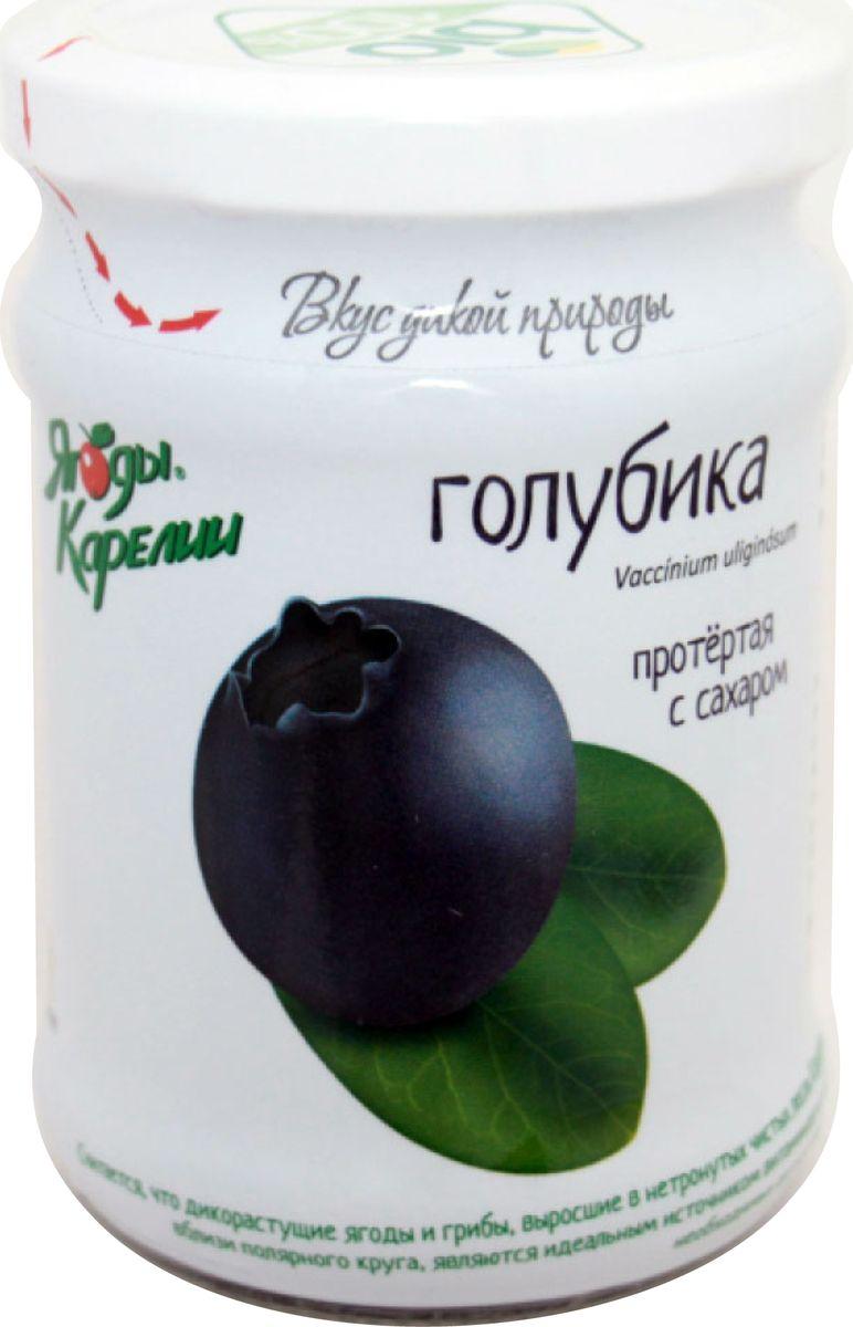 Ягоды Карелии голубика протертая с сахаром, 280 г ягоды карелии черная смородина протертая с сахаром 280 г