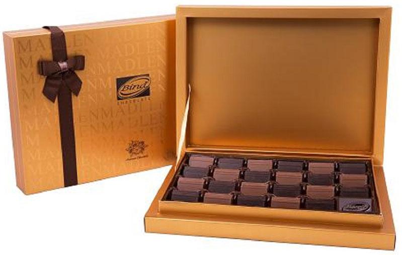 Bind Мадлен-голд набор шоколада, 370 гPCK-6002.01Набор плиток шоколада (молочный, темный) Мадлен-голд в подарочной упаковке с брендированной лентой.
