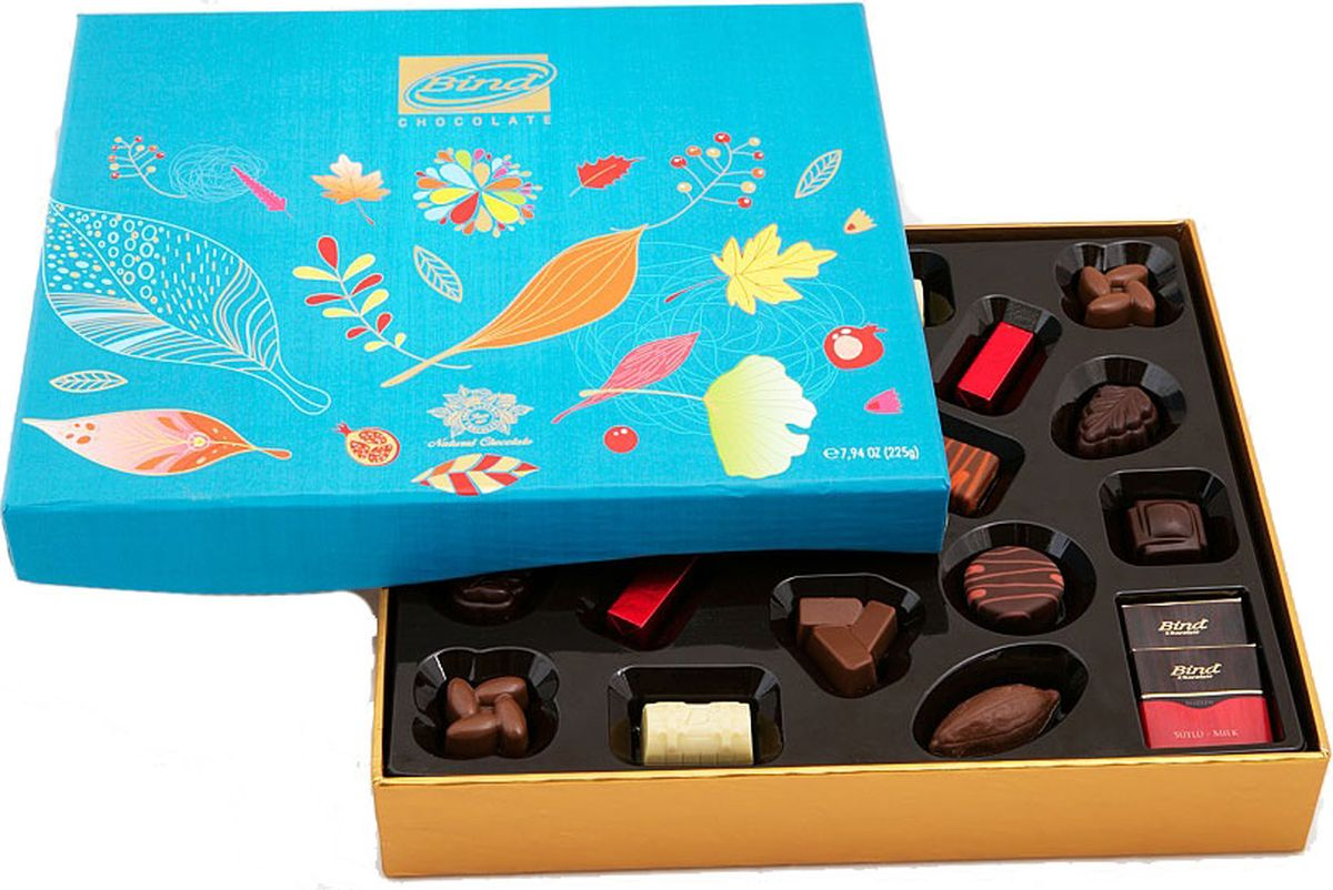 Bind Осень набор шоколадных конфет, 320 гPCK-6123Bind Набор шоколадных конфет Осень в подарочной упаковке 320 гр.