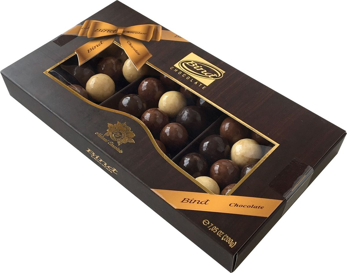 Bind шоколадное драже-ассорти с марципаном, 200 гPCK-6511.200Bind Шоколадное драже-ассорти с марципаном в подарочной упаковке (200гр)
