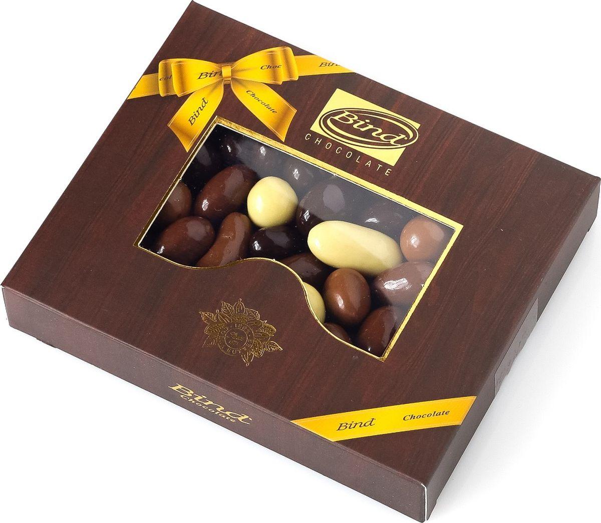 Bind микс из разного шоколада с орехами и цукатами драже, 100 г gbs конфеты фигурные из молочного шоколада с воздушным рисом и фундуком 75 г