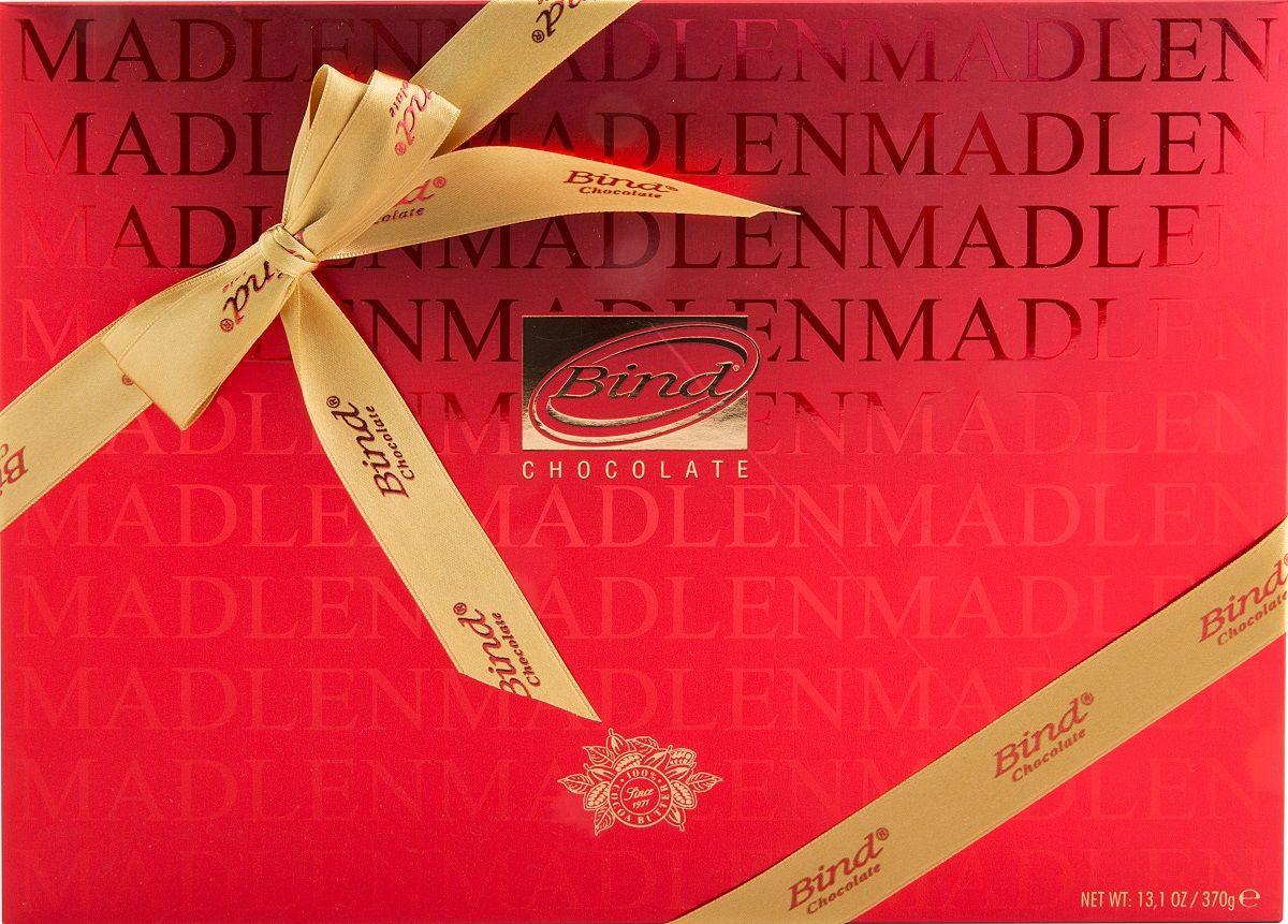 Bind Мадлен-ред набор шоколада, 370 гPCK-6018Набор Bind плитки шоколада (молочный темный) Мадлен-ред в подарочной упаковке с брендированной лентой (370 гр)