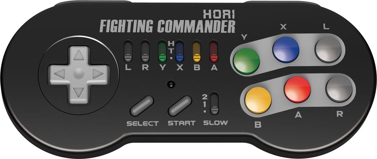 Hori Nintendo SNES Commander Wireless беспроводной геймпад (NCS-001U)HR21 Официально лицензирован Nintendo Беспроводное соединение (донглв комплекте) 6 кнопок: идеально дляStreet Fighter II Функция турбо доступна для каждой из 6 кнопок Функция замедленного движения на 2-х скоростях Питание -2 батарейки АА (не входят в комплект) Время автономного использования 200 часов