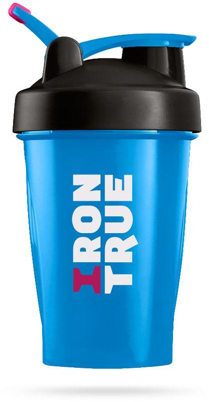 Шейкер спортивный Irontrue, цвет: голубой, черный, 500 мл4603726212298Объем 500мл. Шарик-пружинка в комплекте. Прорезиненное крепление loop для удобного ношения.