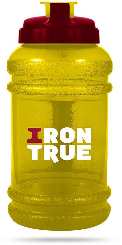 Бутылка спортивная Irontrue, цвет: желтый, красный, 2,2 л бутылка гантеля спортивная irontrue цвет желтый 2 2 л
