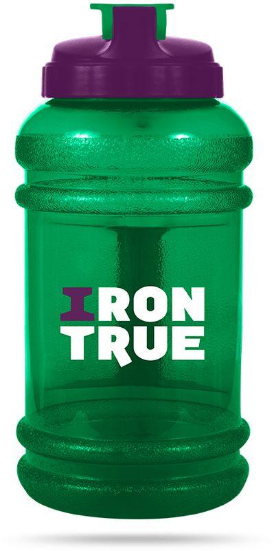 Бутылка спортивная Irontrue, цвет: зеленый, фиолетовый, 2,2 л бутылка гантеля спортивная irontrue цвет желтый 2 2 л
