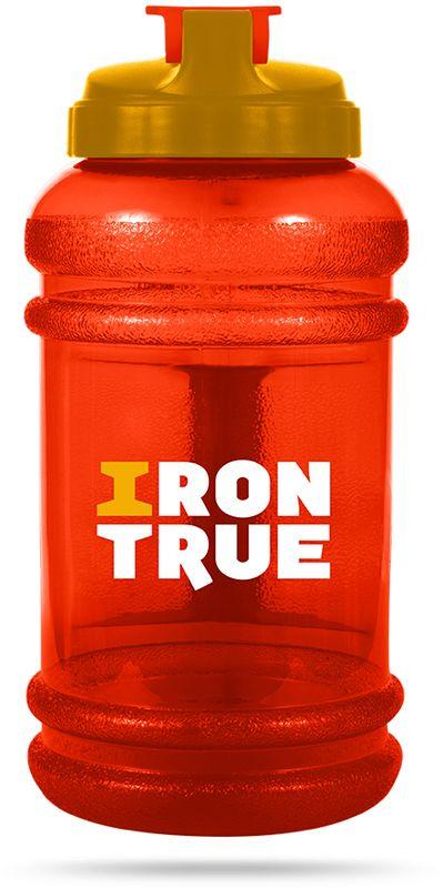 Бутылка спортивная Irontrue, цвет: оранжевый, желтый, 2,2 л бутылка спортивная irontrue цвет черный красный 2 2 л itb931 2200