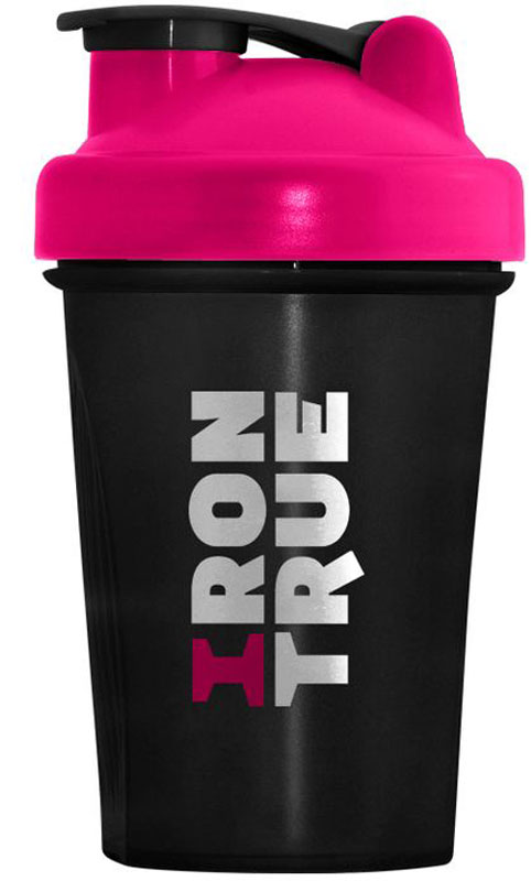 Шейкер спортивный Irontrue, цвет: белый, розовый, черный, 500 мл бутылка гантеля спортивная irontrue цвет зеленый 2 2 л