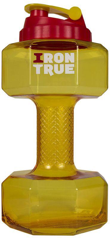Бутылка-гантеля спортивная Irontrue, цвет: желтый, 2,2 л4603732333031Новая форма! Бутылка 2,2 л. в форме гантели с большой крышкой от шейкера. Удобно пить и качать бицепс.Материал PETG.