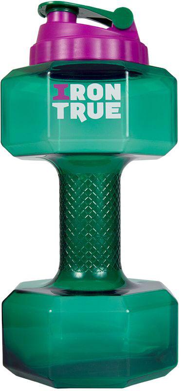 Бутылка-гантеля спортивная Irontrue, цвет: зеленый, 2,2 л4603732333048Новая форма! Бутылка 2,2 л. в форме гантели с большой крышкой от шейкера. Удобно пить и качать бицепс.Материал PETG.