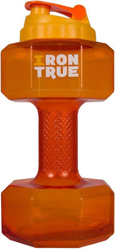 Бутылка-гантеля спортивная Irontrue, цвет: оранжевый, 2,2 л4603732333055Спортивная бутылка Irontrue в форме гантели с большой крышкой от шейкера выполнена из материала PETG. Удобно пить и качать бицепс.