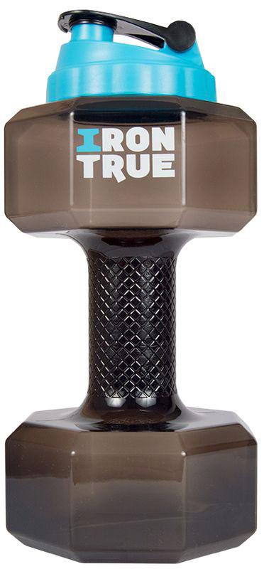 Бутылка-гантеля спортивная Irontrue, цвет: черный, 2,2 л4603732333062Спортивная бутылка Irontrue в форме гантели с большой крышкой от шейкера выполнена из материала PETG. Удобно пить и качать бицепс.