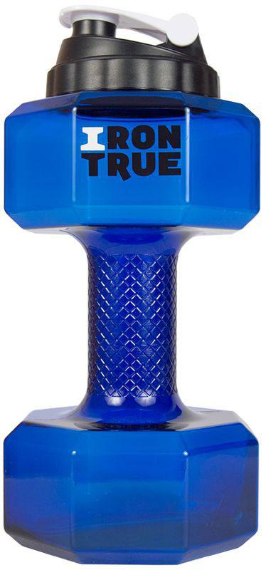 Бутылка-гантеля спортивная Irontrue, цвет: синий, 2,2 л бутылка спортивная irontrue цвет черный красный 2 2 л itb931 2200