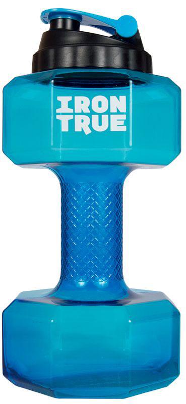 Бутылка-гантеля спортивная Irontrue, цвет: голубой, 2,2 л бутылка спортивная irontrue цвет черный синий 2 2 л