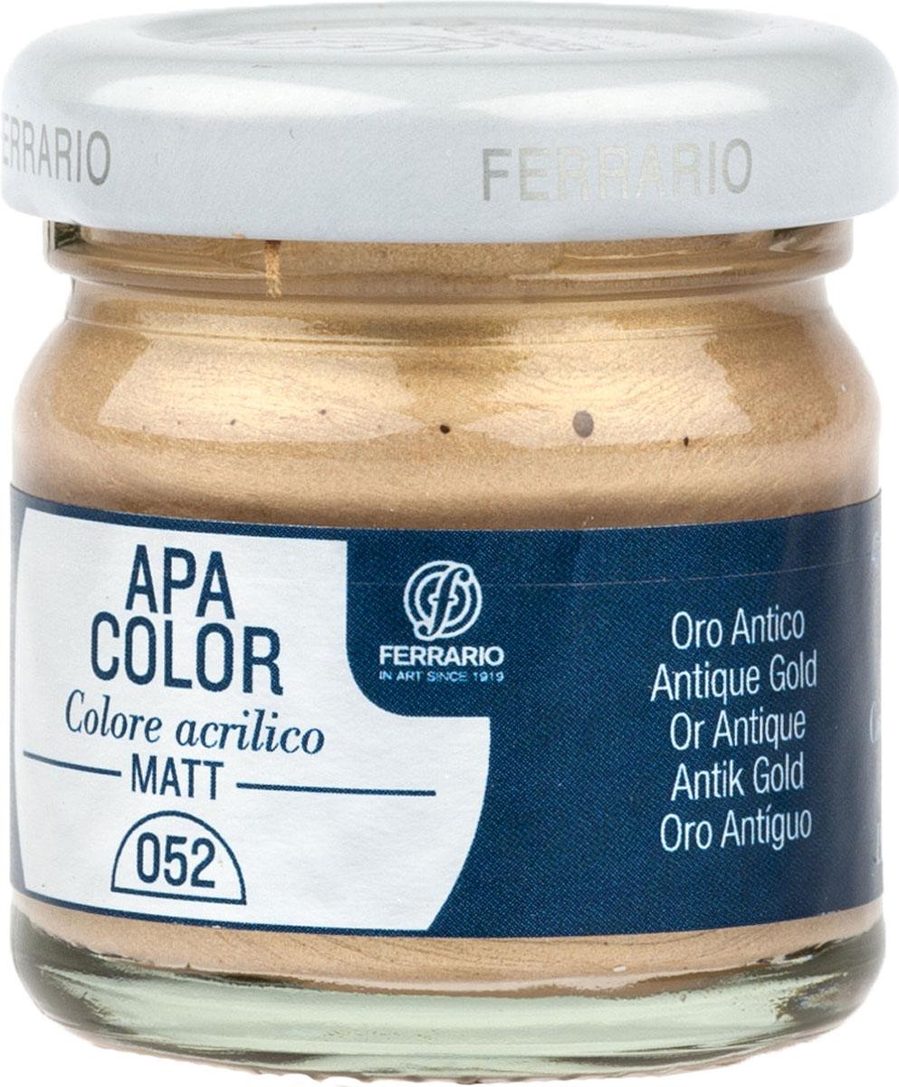 Ferrario Краска акриловая Apa Color цвет античное золото BA0040А0052BA0040А0052Матовая акриловая краска Apa Color итальянской компании Ferrario на водной основе готова к использованию. Основные качества акриловой краски Apa Color: прочность, светостойкость и экологичность. Благодаря акриловой смоле Apa Color пластична и не дает трещин. Именно поэтому краска прекрасно ложится на любые поверхности, будь то стекло, дерево или ткань, что особенно хорошо в дизайне и декоре. Она быстро сохнет, после высыхания становится водостойкой. Акриловая краска Apa Color не потускнеет со временем, ее светостойкость не позволит измениться цвету, он не выгорит на солнце и не пожелтеет. Акриловая краска Apa Color – это отличный выбор в пользу яркой живописи, так как в ее палитре только глубокие и насыщенные цвета. Из-за того, что акриловая краска Apa Color на водной основе, она почти совсем не пахнет, малотоксична – подходит для работы в помещениях, можно заниматься творчеством вместе с детьми. Акриловая краска Apa Color разводится водой, однако это не значит, что для нее нельзя использовать специальные растворители и медиумы, предназначенные для акриловых красок – в этом случае сохраняется высокая пигментированность, но объем краски увеличивается и появляется возможность создания различных фактур и эффектов. Акриловую краску Apa Color легко наносить кистью, шпателем, валиком.