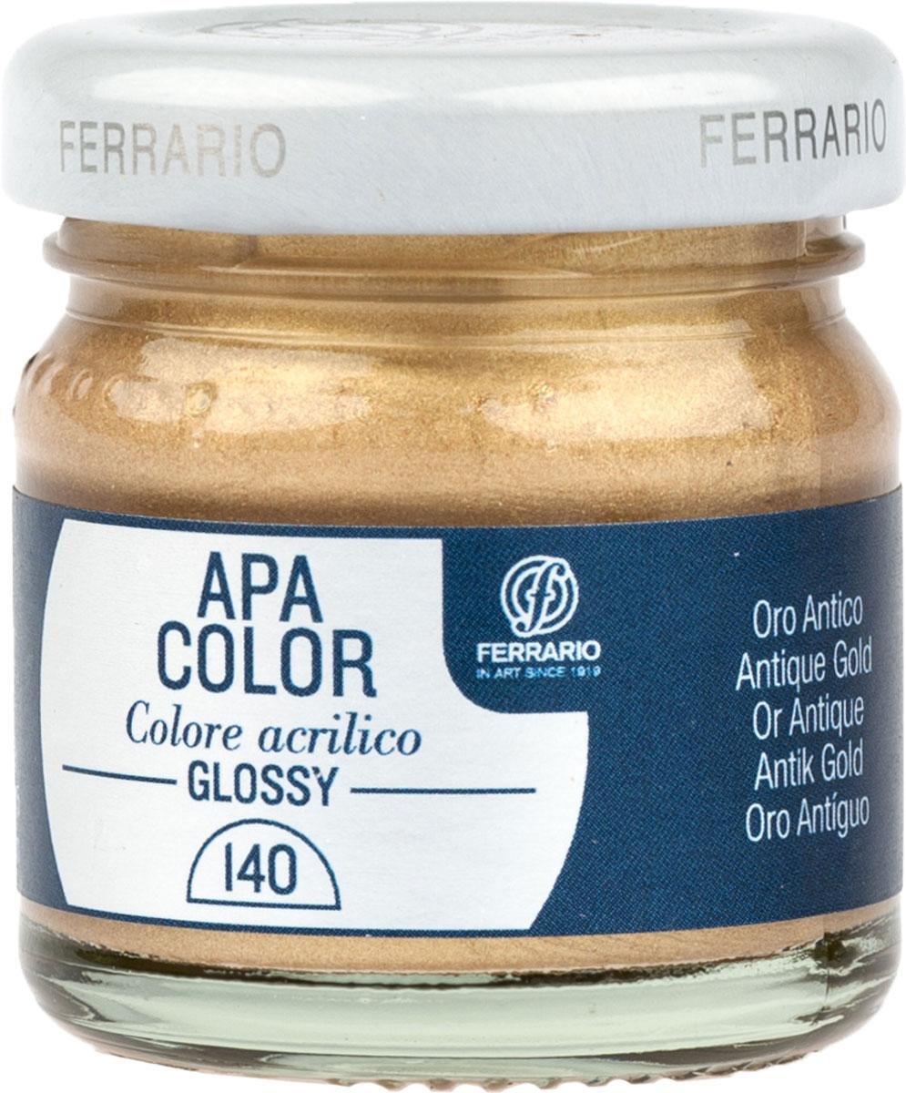 Ferrario Краска акриловая Apa Color цвет античное золото BA0040В0140BA0040В0140Глянцевая акриловая краска Apa Color итальянской компании Ferrario на водной основе, готова к использованию. Основные качества акриловой краски Apa Color: прочность, светостойкость и экологичность. Благодаря акриловой смоле Apa Color пластична и не дает трещин. Именно поэтому краска прекрасно ложится на любые поверхности, будь то стекло, дерево или ткань, что особенно хорошо в дизайне и декоре. Она быстро сохнет, после высыхания становится водостойкой. Акриловая краска Apa Color не потускнеет со временем, ее светостойкость не позволит измениться цвету, он не выгорит на солнце и не пожелтеет. Акриловая краска Apa Color – это отличный выбор в пользу яркой живописи, так как в ее палитре только глубокие и насыщенные цвета. Из-за того, что акриловая краска Apa Color на водной основе, она почти совсем не пахнет, малотоксична – подходит для работы в помещениях, можно заниматься творчеством вместе с детьми. Акриловая краска Apa Color разводится водой, однако это не значит, что для нее нельзя использовать специальные растворители и медиумы, предназначенные для акриловых красок – в этом случае сохраняется высокая пигментированность, но объем краски увеличивается и появляется возможность создания различных фактур и эффектов. Акриловую краску Apa Color легко наносить кистью, шпателем, валиком.