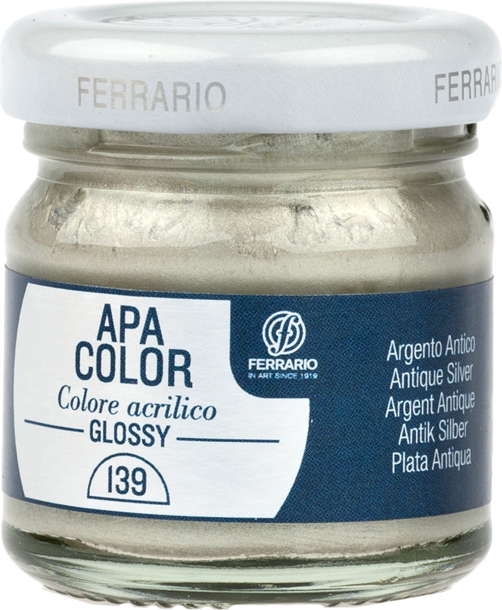 Ferrario Краска акриловая Apa Color цвет античное сереброBA0040В0139Глянцевая акриловая краска Apa Color итальянской компании Ferrario на водной основе, готова к использованию. Основные качества акриловой краски Apa Color: прочность, светостойкость и экологичность. Благодаря акриловой смоле Apa Color пластична и не дает трещин. Именно поэтому краска прекрасно ложится на любые поверхности, будь то стекло, дерево или ткань, что особенно хорошо в дизайне и декоре. Она быстро сохнет, после высыхания становится водостойкой. Акриловая краска Apa Color не потускнеет со временем, ее светостойкость не позволит измениться цвету, он не выгорит на солнце и не пожелтеет. Акриловая краска Apa Color – это отличный выбор в пользу яркой живописи, так как в ее палитре только глубокие и насыщенные цвета. Из-за того, что акриловая краска Apa Color на водной основе, она почти совсем не пахнет, малотоксична – подходит для работы в помещениях, можно заниматься творчеством вместе с детьми. Акриловая краска Apa Color разводится водой, однако это не значит, что для нее нельзя использовать специальные растворители и медиумы, предназначенные для акриловых красок – в этом случае сохраняется высокая пигментированность, но объем краски увеличивается и появляется возможность создания различных фактур и эффектов. Акриловую краску Apa Color легко наносить кистью, шпателем, валиком.