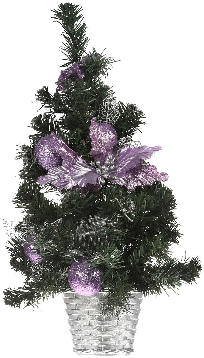 Елка настенная, цвет: фиолетовый, зеленый, высота 50 см. 542630542630Сияющие цветы, блестящие листочки, милые бантики. елка подвесная настенная с фиолетовым декором – это отличный выбор, если вы решили выбрать оригинальное украшение для создания новогоднего интерьера. Такая ель является идеальным вариантом для оформления небольшой квартиры, в которую не поместится большая елка.Такую ель не нужно украшать - она уже нарядная. А благодаря аккуратному горшочку, в который помещена елочка, она станет прекрасным украшением любого интерьера.Для большего объема и пушистости, ветки на елке закреплены в хаотичном порядке. Елка украшена текстильными бантами, шишками, шарами, блестками и листочками. Невозможно представить нашу жизнь без праздников! Мы всегда ждем и предвкушаем их, обдумываем, как проведем памятный день, тщательно выбираем подарки и аксессуары, ведь именно они создают и поддерживают праздничный настрой.