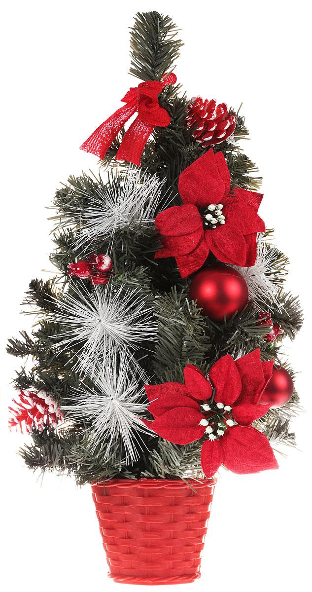 Елка настенная, цвет: золотой, 50 см. 717964717964Искусственная ель, выполненная из ПВХ и пластика, станет идеальным украшением для новогоднего интерьера и создаст теплую и уютную атмосферу праздника. Ее не нужно ни собирать, ни наряжать, зато настроение праздника она создает очень быстро.настенная елка украшена текстильными бантами, цветами, шарами и шишками. Откройте для себя удивительный мир сказок и грез. Почувствуйте волшебные минуты ожидания праздника, создайте новогоднее настроение вашим дорогим и близким.