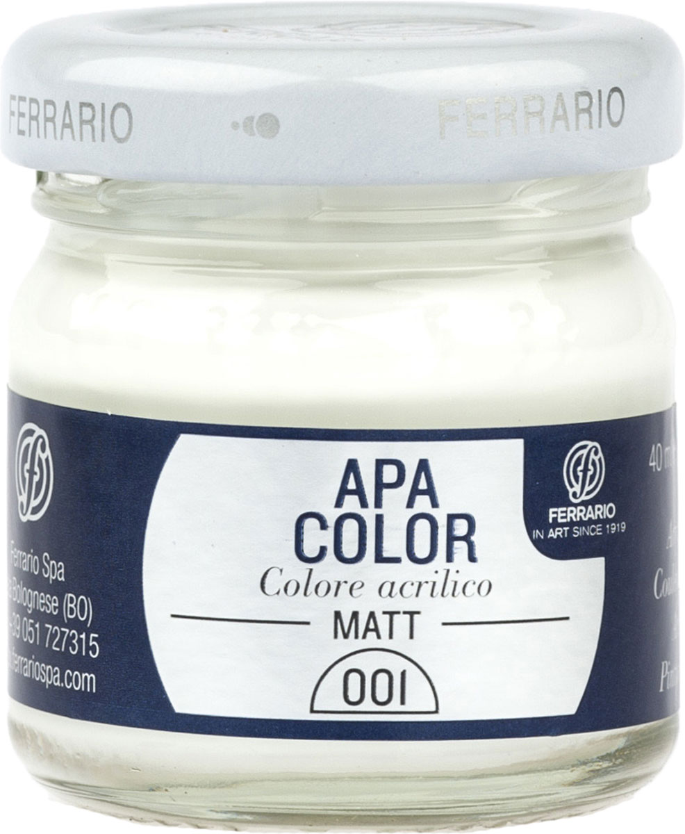 Ferrario Краска акриловая Apa Color цвет белила титановыеBA0040А0001Матовая акриловая краска Apa Color итальянской компании Ferrario на водной основе, готова к использованию. Основные качества акриловой краски Apa Color: прочность, светостойкость и экологичность. Благодаря акриловой смоле Apa Color пластична и не дает трещин. Именно поэтому краска прекрасно ложится на любые поверхности, будь то стекло, дерево или ткань, что особенно хорошо в дизайне и декоре. Она быстро сохнет, после высыхания становится водостойкой. Акриловая краска Apa Color не потускнеет со временем, ее светостойкость не позволит измениться цвету, он не выгорит на солнце и не пожелтеет. Акриловая краска Apa Color – это отличный выбор в пользу яркой живописи, так как в ее палитре только глубокие и насыщенные цвета. Из-за того, что акриловая краска Apa Color на водной основе, она почти совсем не пахнет, малотоксична – подходит для работы в помещениях, можно заниматься творчеством вместе с детьми. Акриловая краска Apa Color разводится водой, однако это не значит, что для нее нельзя использовать специальные растворители и медиумы, предназначенные для акриловых красок – в этом случае сохраняется высокая пигментированность, но объем краски увеличивается и появляется возможность создания различных фактур и эффектов. Акриловую краску Apa Color легко наносить кистью, шпателем, валиком.