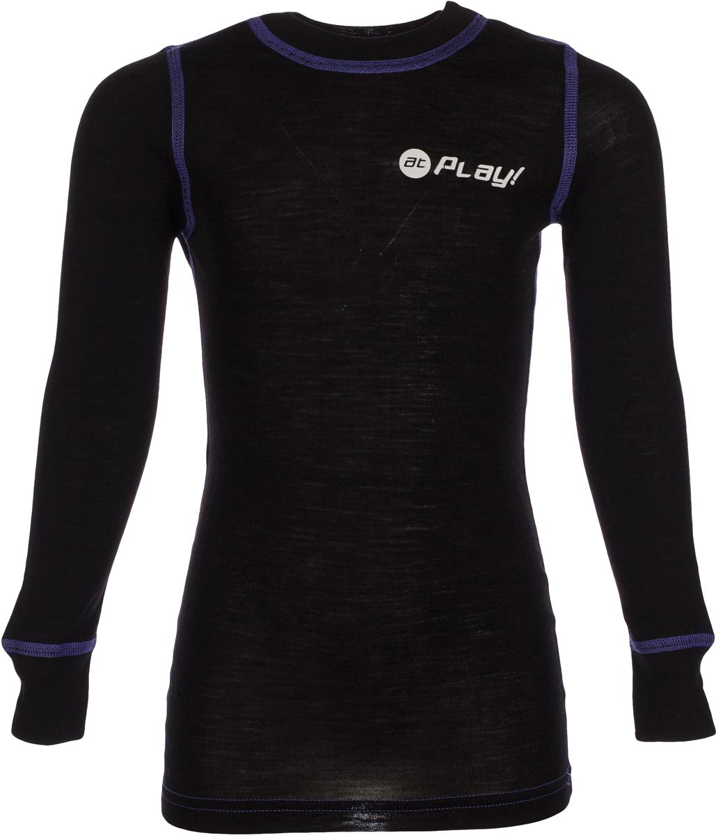 Футболка детская atPlay!, цвет: черный, фиолетовый. 3tjk761. Размер 1343tjk761