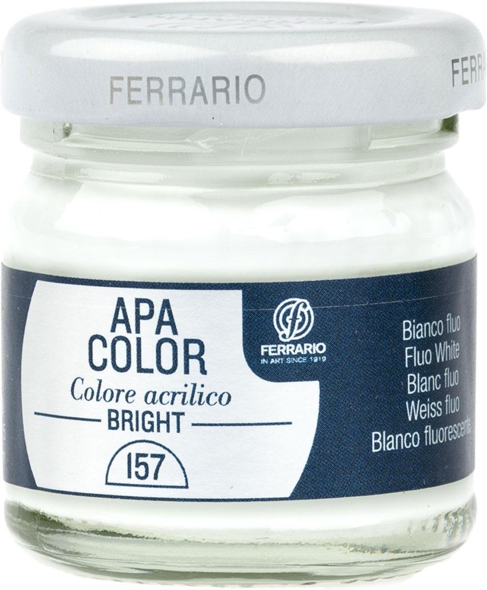 Ferrario Краска акриловая Apa Color цвет белый флуоресцентныйBA0040С0157Флуоресцентная акриловая краска Apa Color итальянской компании Ferrario на водной основе, готова к использованию. Основные качества акриловой краски Apa Color: прочность, светостойкость и экологичность. Благодаря акриловой смоле Apa Color пластична и не дает трещин. Именно поэтому краска прекрасно ложится на любые поверхности, будь то стекло, дерево или ткань, что особенно хорошо в дизайне и декоре. Она быстро сохнет, после высыхания становится водостойкой. Акриловая краска Apa Color не потускнеет со временем, ее светостойкость не позволит измениться цвету, он не выгорит на солнце и не пожелтеет. Акриловая краска Apa Color – это отличный выбор в пользу яркой живописи, так как в ее палитре только глубокие и насыщенные цвета. Из-за того, что акриловая краска Apa Color на водной основе, она почти совсем не пахнет, малотоксична – подходит для работы в помещениях, можно заниматься творчеством вместе с детьми. Акриловая краска Apa Color разводится водой, однако это не значит, что для нее нельзя использовать специальные растворители и медиумы, предназначенные для акриловых красок – в этом случае сохраняется высокая пигментированность, но объем краски увеличивается и появляется возможность создания различных фактур и эффектов. Акриловую краску Apa Color легко наносить кистью, шпателем, валиком.