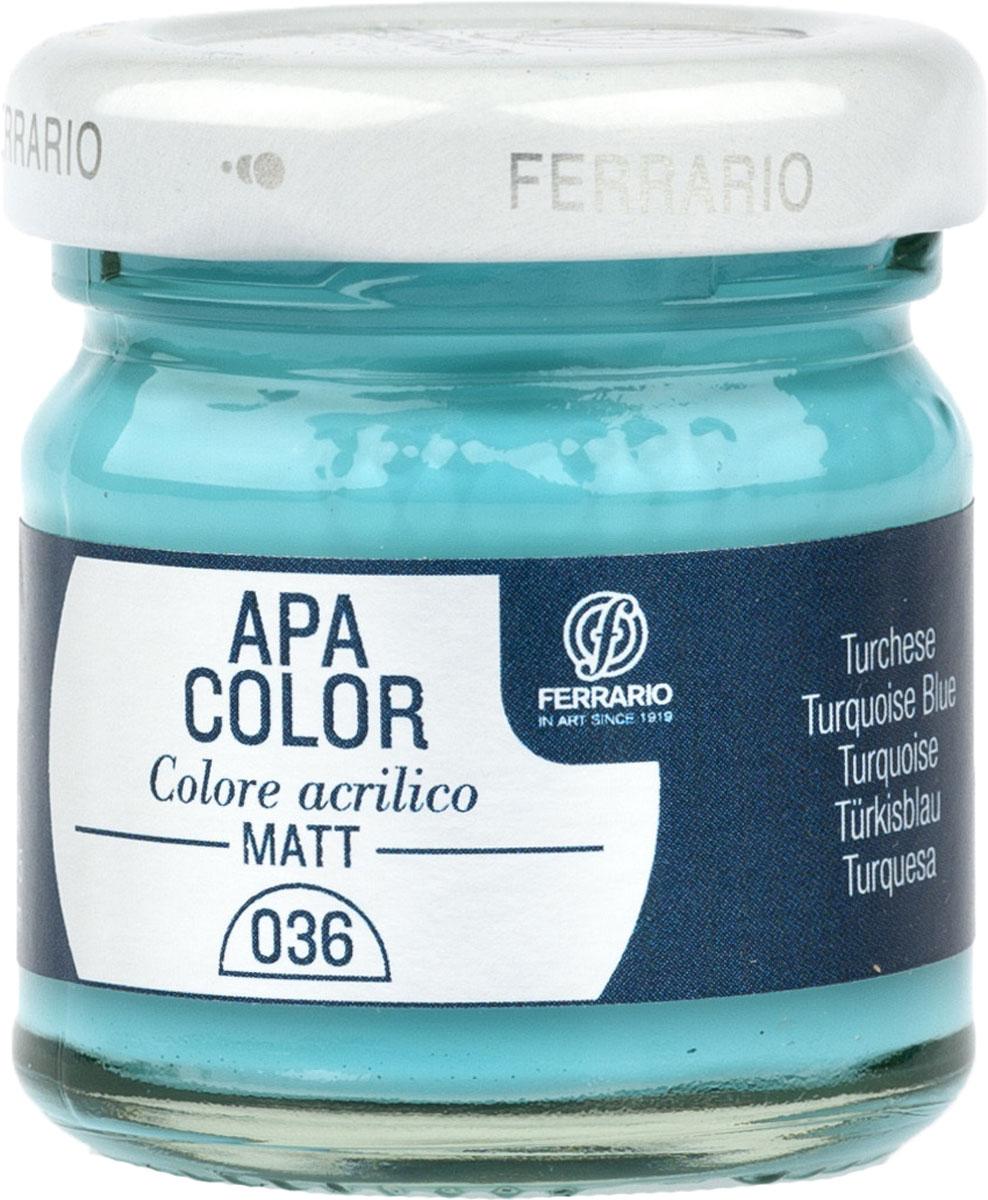Ferrario Краска акриловая Apa Color цвет бирюзовыйBA0040А0036Матовая акриловая краска Apa Color итальянской компании Ferrario на водной основе, готова к использованию. Основные качества акриловой краски Apa Color: прочность, светостойкость и экологичность. Благодаря акриловой смоле Apa Color пластична и не дает трещин. Именно поэтому краска прекрасно ложится на любые поверхности, будь то стекло, дерево или ткань, что особенно хорошо в дизайне и декоре. Она быстро сохнет, после высыхания становится водостойкой. Акриловая краска Apa Color не потускнеет со временем, ее светостойкость не позволит измениться цвету, он не выгорит на солнце и не пожелтеет. Акриловая краска Apa Color – это отличный выбор в пользу яркой живописи, так как в ее палитре только глубокие и насыщенные цвета. Из-за того, что акриловая краска Apa Color на водной основе, она почти совсем не пахнет, малотоксична – подходит для работы в помещениях, можно заниматься творчеством вместе с детьми. Акриловая краска Apa Color разводится водой, однако это не значит, что для нее нельзя использовать специальные растворители и медиумы, предназначенные для акриловых красок – в этом случае сохраняется высокая пигментированность, но объем краски увеличивается и появляется возможность создания различных фактур и эффектов. Акриловую краску Apa Color легко наносить кистью, шпателем, валиком.